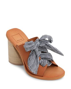 AMBER LEATHER SLIDE SANDALS
