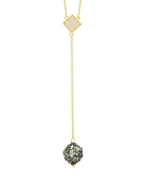 "Freida Rothman - Rose d'Or Pavé Cluster Necklace, 16"""