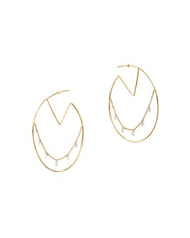 AeroDiamonds - 18K Yellow Gold Bohemian Diamond Hoop Earrings