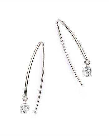 AeroDiamonds - 18K White Gold Solo Diamond Threader Earrings