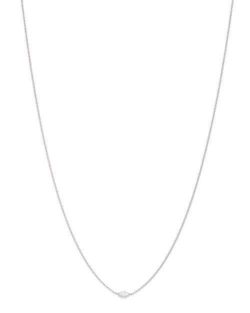 "AeroDiamonds - 18K White Gold Solo Marquise Diamond Necklace, 18"""