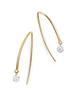 18K White Gold Solo Diamond Threader Earrings