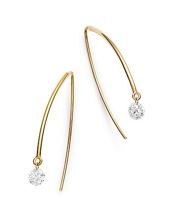 AeroDiamonds - 18K Yellow Gold Solo Diamond Threader Earrings