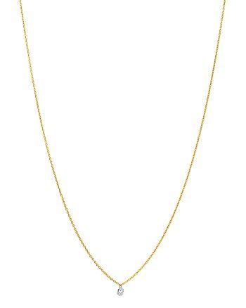 "AeroDiamonds - 18K Yellow Gold Solo Round Diamond Fringe Necklace, 18"""