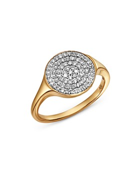 Adina Reyter - 14K Yellow Gold Pavé Diamond Extra Large Disc Signet Ring