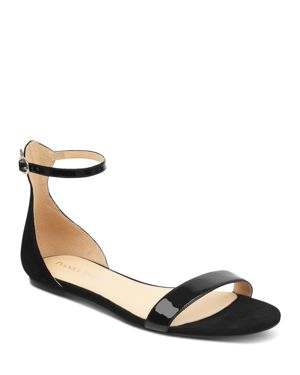 WOMEN'S CAMRYN SUEDE & PATENT LEATHER ANKLE STRAP SANDALS