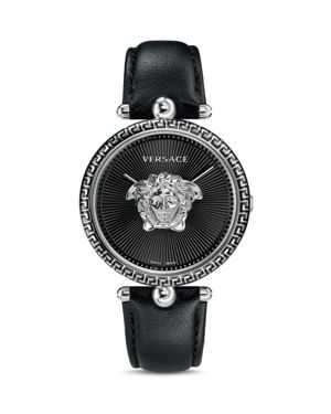 Palazzo Empire Leather Strap Watch, 39Mm in Black/ Silver