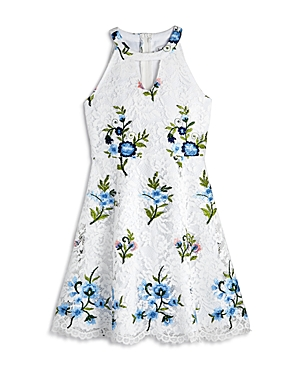 Us Angels Girls Embroidered Floral Lace Dress  Big Kid