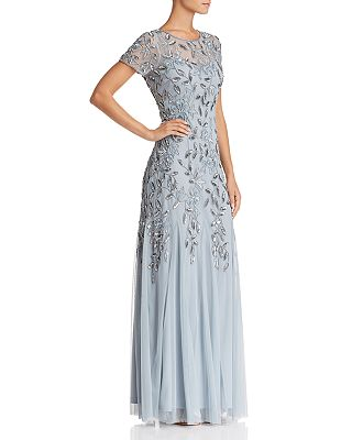 Adrianna Papell Short Sleeve Beaded Gown Bloomingdales