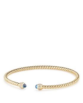 David Yurman - Cable Spira Bracelet in 18K Gold with Hampton Blue Topaz & Diamonds
