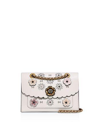 COACH - Cutout Tea Rose Parker Leather Shoulder Bag