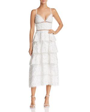 SAU LEE CAMELIA TIERED FLORAL-LACE DRESS