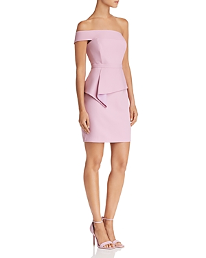 Bcbgmaxazria Off-the-Shoulder Peplum Dress