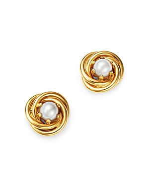 Bloomingdale's Cultured Freshwater Pearl Knot Earrings in 14K Yellow Gold, 3mm - 100% Exclusive