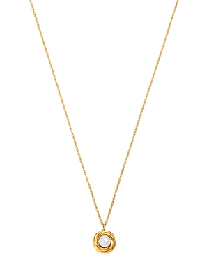 Cultured Freshwater Pearl Knot Pendant Necklace in 14K Yellow Gold