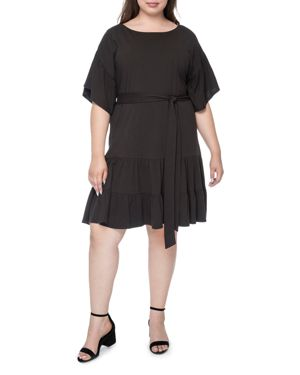 B COLLECTION BY BOBEAU CURVY Angel Washed-Cotton Flutter-Sleeve Dress, Plus Size in Black