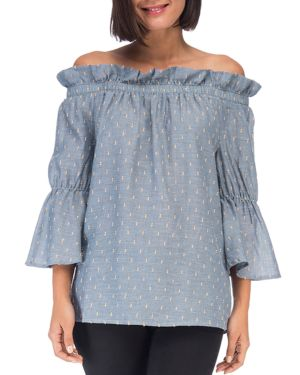 B COLLECTION BY BOBEAU Martha Off-The-Shoulder Flare Sleeve Blouse in Blue