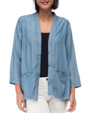 B COLLECTION BY BOBEAU B Collection By Bobeau Hilary Chambray Open Jacket in Medium Wash Blue