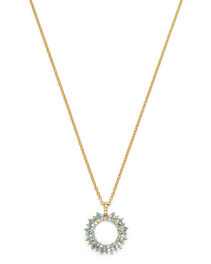 Kiki McDonough - 18K Yellow Gold Juno Blue Topaz & Diamond Sunflower Pendant Necklace, 18""
