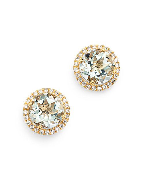 Kiki McDonough - 18K Yellow Gold Grace Round Green Amethyst & Diamond Earrings