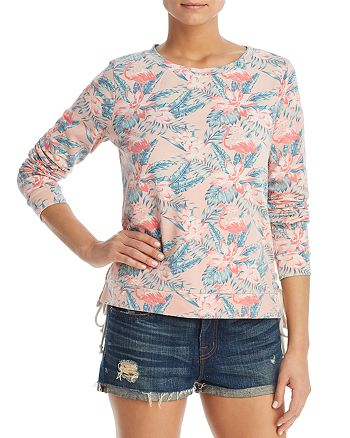 Billy T - Tropical Print Lace-Up Sweatshirt