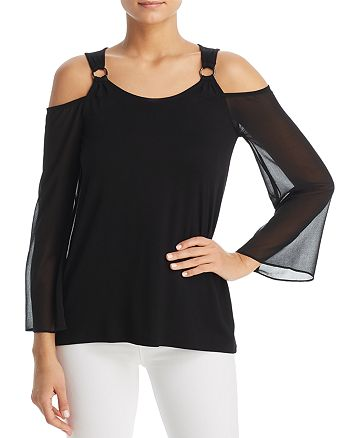 Design History - Mixed Media Cold-Shoulder Top