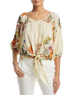 STATUS BY CHENAULT FLORAL-PRINT TIE-WAIST TOP