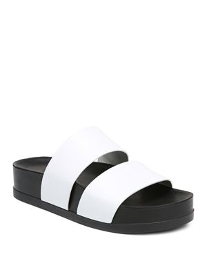 Women'S Milton Leather Platform Slide Sandals in Porcelain Leather