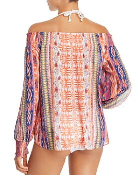 Ramy Brook - Augustine Printed Off-the-Shoulder Swim Cover-Up