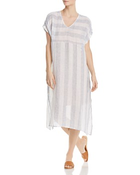 Eileen Fisher Petites - Striped Linen Caftan Dress
