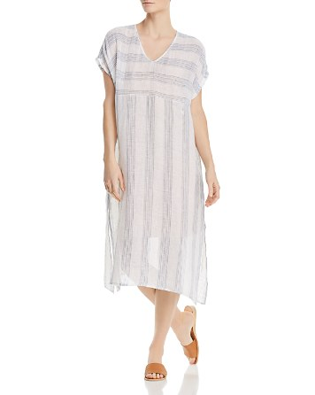 Eileen Fisher Petites Striped Linen Caftan Dress