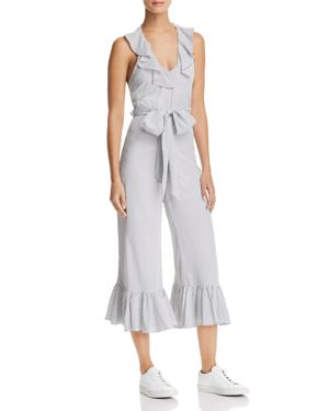 DELPHINE RUFFLED POLKA DOT JUMPSUIT