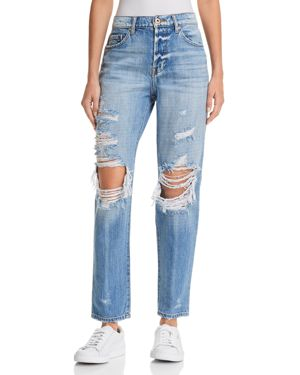 PISTOLA PRESLEY HIGH-RISE DISTRESSED GIRLFRIEND JEANS IN ROCK OR BUST