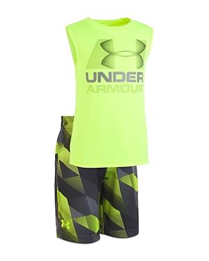 Under Armour Boys Electric Fields Sleeveless Tee  Shorts Set  Little Kid