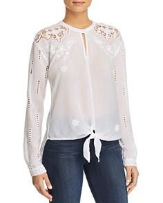 Johnny Was Heidine Sheer Lace-Inset Tie-Front Top - Bloomingdale's_0