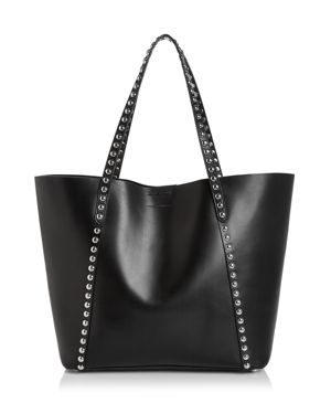 Blythe Studded Leather Tote, Black/Silver