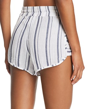Lucky Brand - Stripe Dolphin Shorts Swim Cover-Up
