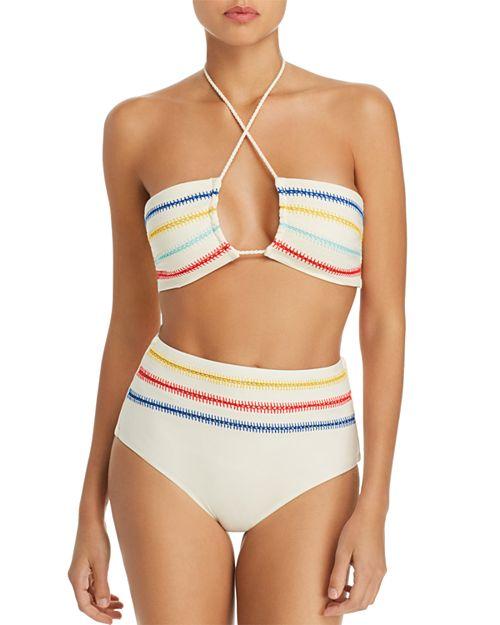 Dolce Vita - Kokomo Embroidered Bandeau Bikini Top & High Waist Bikini Bottom