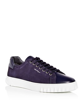 Salvatore Ferragamo - Cube Suede & Leather Low-Top Sneakers
