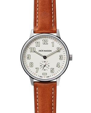 JACK MASON Field Leather Strap Watch, 38Mm in White/ Brown