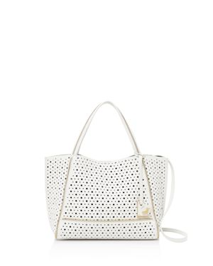 Soho Bite Size Leather Tote in Chalk/Gold