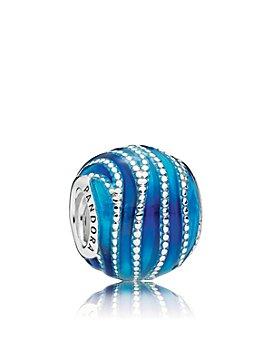 Pandora - Sterling Silver & Enamel Nature of Pandora Blue Swirls Charm