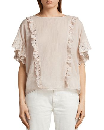 ALLSAINTS - Isa Ruffled Eyelet-Detail Top