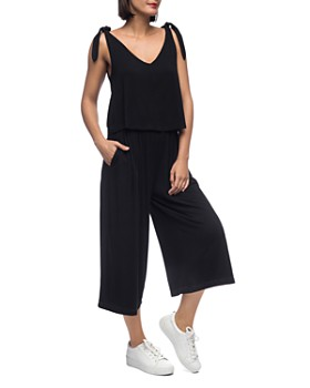 B Collection by Bobeau - Knotted-Shoulder Overlay Jumpsuit
