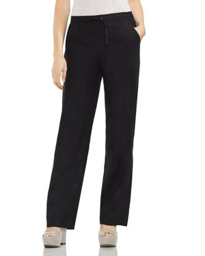 TWO BY VINCE CAMUTO Linen Drawstring Wide-Leg Pants in Rich Black