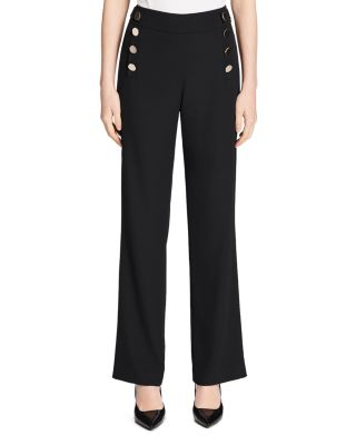 Button Front Wide Leg Pants by Calvin Klein