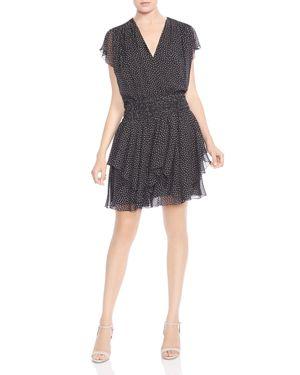 Halston Heritage Ruffled Printed Dress 2941526