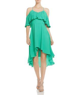 Halston Heritage Ruffled Cold-Shoulder Dress 2941521