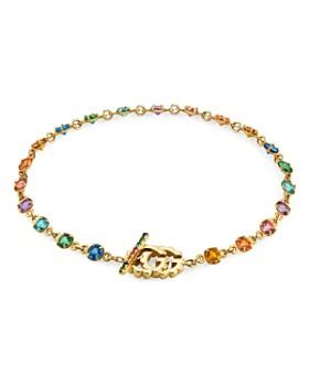 Gucci - 18K Yellow Gold GG Running Mixed Gemstone Bracelet