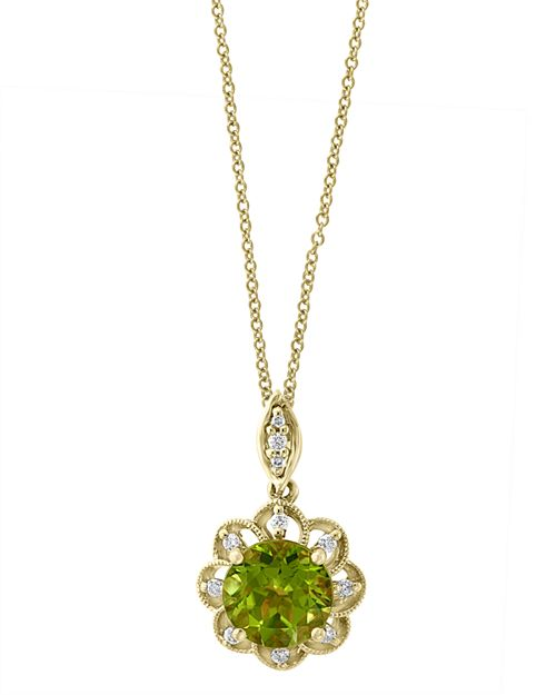 Bloomingdale's - Peridot & Diamond Flower Pendant Necklace in 14K Yellow Gold - 100% Exclusive